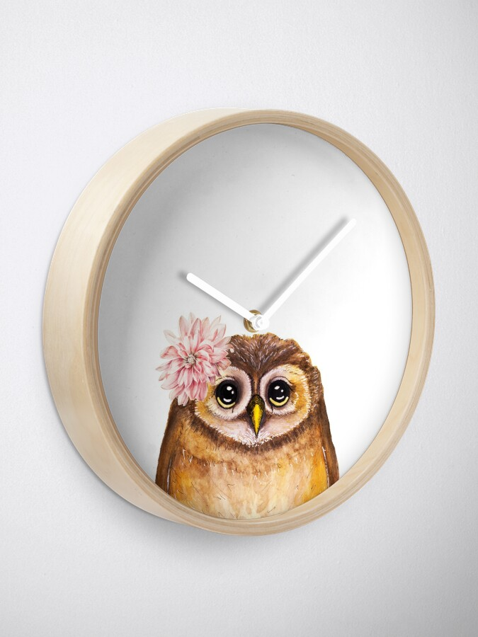 Alternate view of Rosalie, the Baby Owl Clock
