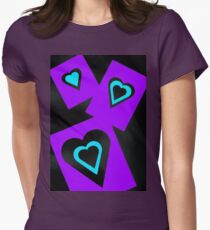 Hearts in Black Turquoise and Purple Var 4 Alternate Options Women's Fitted T-Shirt
