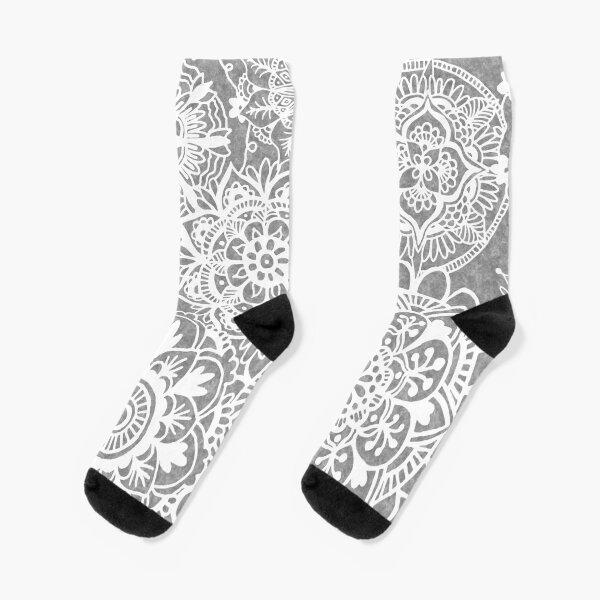 Soft Grey Mandala Pattern Socks