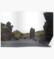 Black volcanic beach Grundarfjordur Iceland Poster