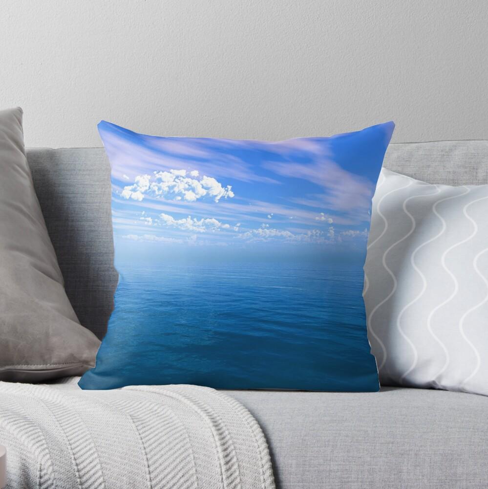 Blue Ocean Puffy Clouded Blue Sky Throw Pillow