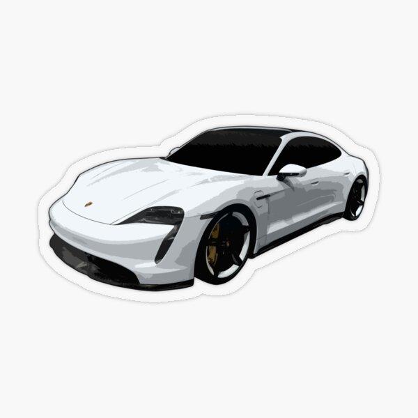 Porsche Taycan White Transparent Sticker