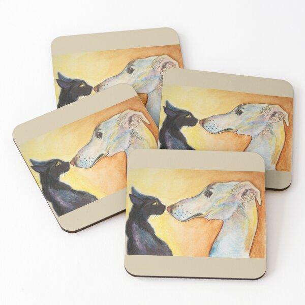 Saluki Lurcher and Kitten Coasters (Set of 4)
