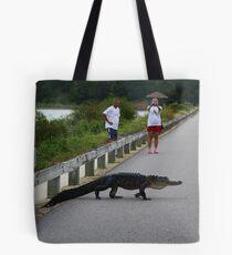Alligator Crossing the Causeway Tote Bag
