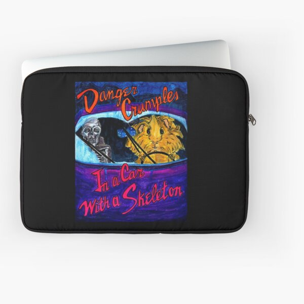 Danger Crumples In a Car with a Skeleton Laptop Sleeve