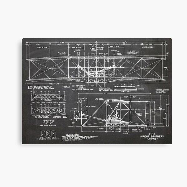 1903 Wright Flyer Airplane Invention Patent Art, Blackboard Canvas Print