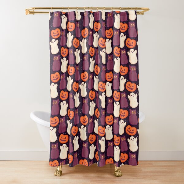 Halloween Marshmallows Dark Shower Curtain