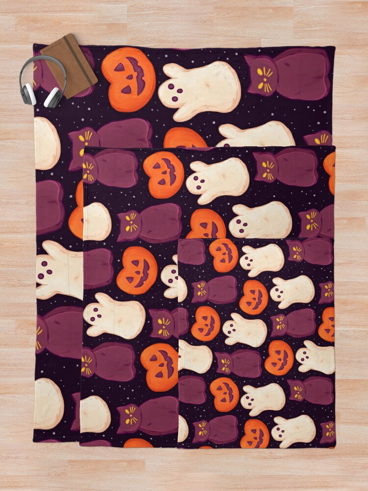 Alternate view of  Halloween Marshmallows Dark Throw Blanket