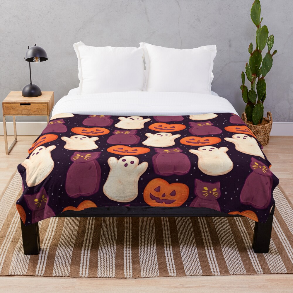 Halloween Marshmallows Dark Throw Blanket