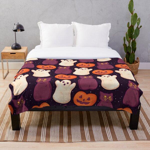 Halloween Marshmallows Dark Throw Blanket