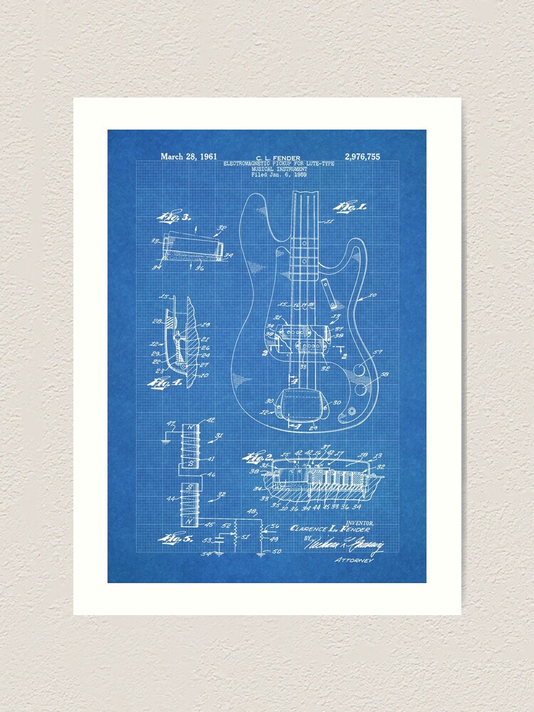 USA Patent Drawing vintage ELECTRIC VIOLIN FENDER music MOUNTED PRINT 1961 Gift