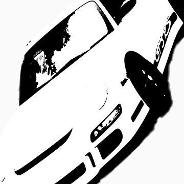 Porsche GT3RS T-Shirt Black and White 911 by MJDesignLLC