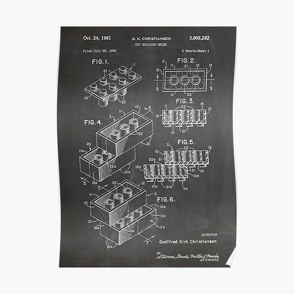 LEGO Construction Toy Blocks US Patent Art blackboard Poster