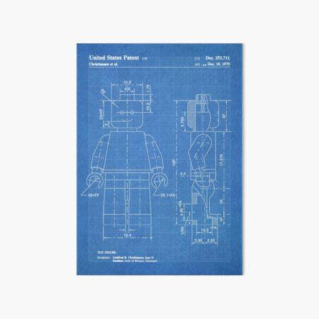 LEGO Minifigure US Patent Art Mini Figure blueprint Art Board Print