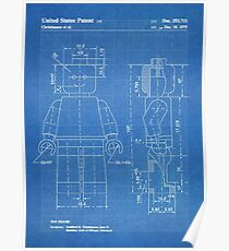LEGO Minifigure US Patent Art Mini Figure blueprint Poster
