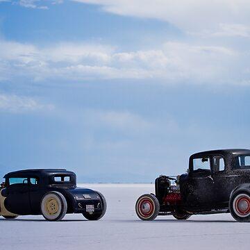 Hot Rods at Bonneville Salt Flats Speed Week 2011 by MJDesignLLC