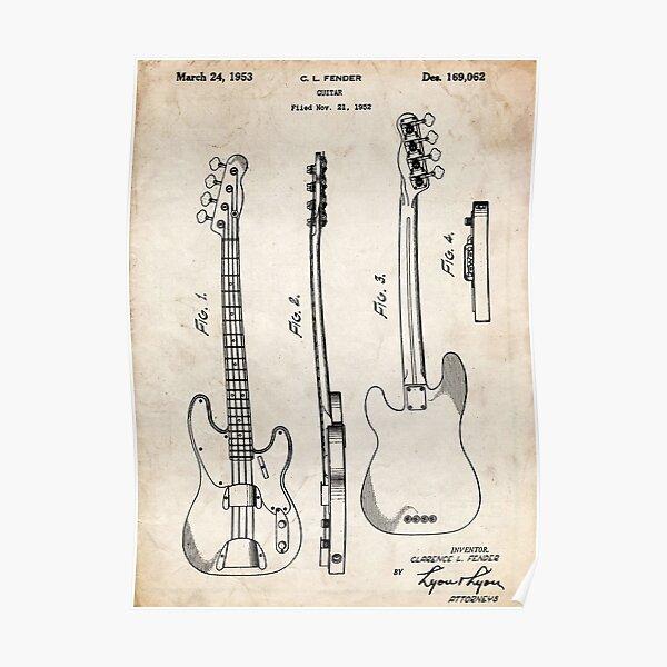 Fender Precision Bass Guitar US Patent Art Poster