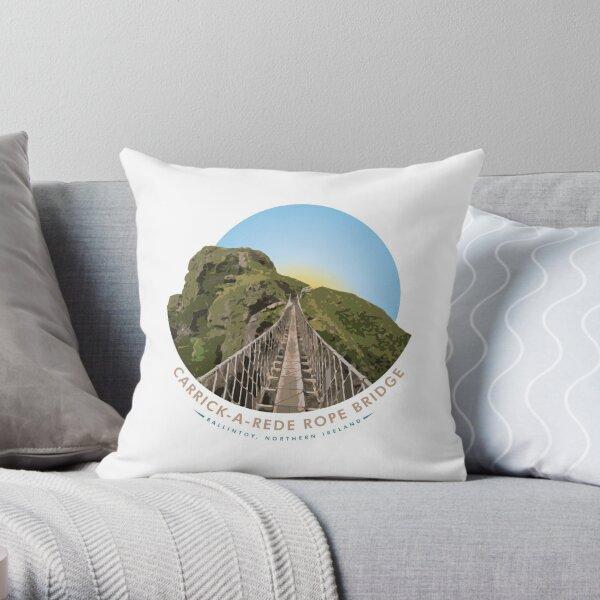 Carrick-a-Rede Rope Bridge, Ballintoy, Northern Ireland Throw Pillow