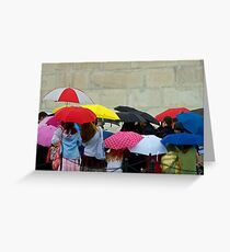 Standing in the Pouring Rain Greeting Card