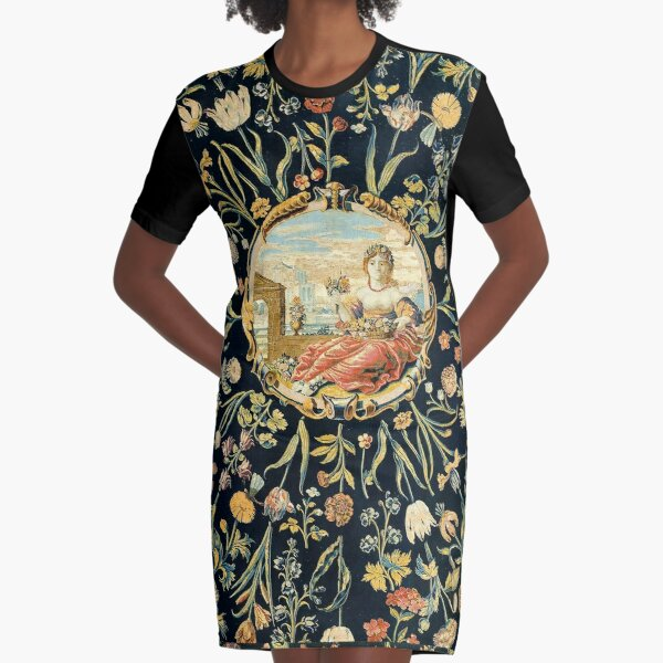 LADY FLORA AMONG FLOWERS Antique Floral Tapestry Graphic T-Shirt Dress