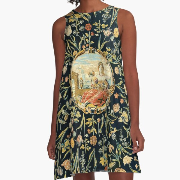 LADY FLORA AMONG FLOWERS Antique Floral Tapestry A-Line Dress