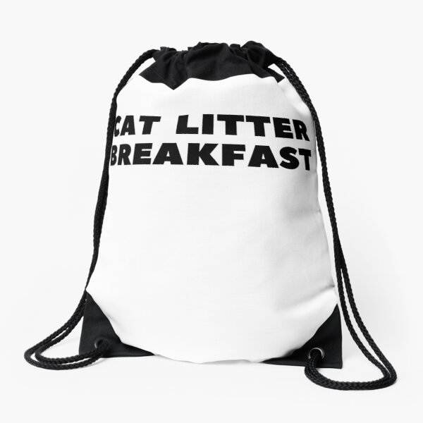 Cat Litter Breakfast Drawstring Bag