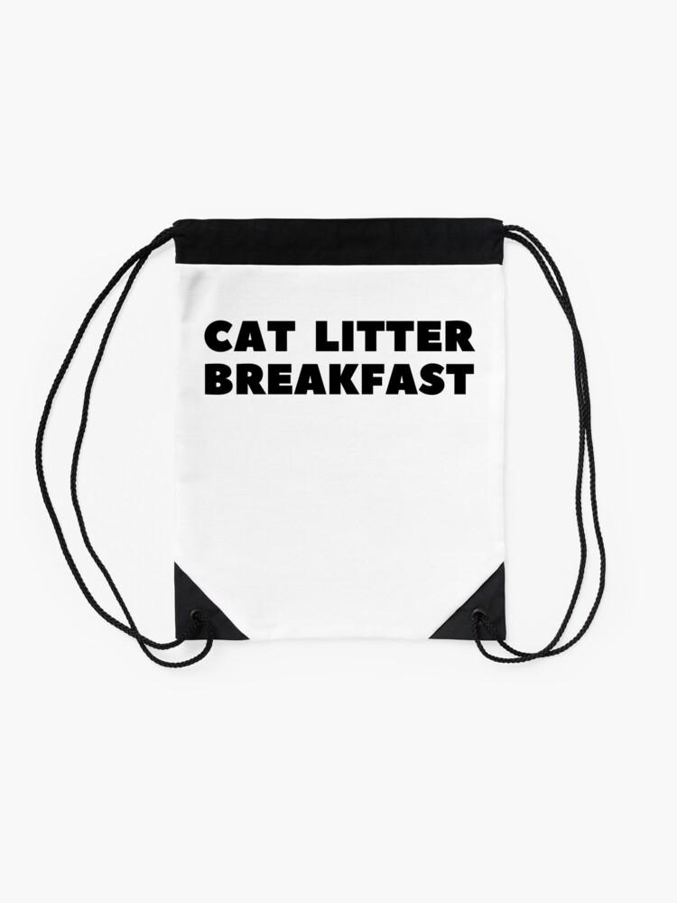 Alternate view of Cat Litter Breakfast Drawstring Bag