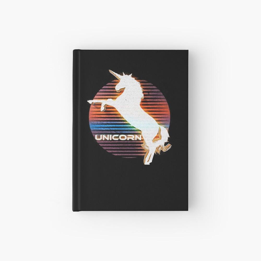 Unicorn Black Grey White Retro Galaxy Unicorn Graphic Logo  Hardcover Journal