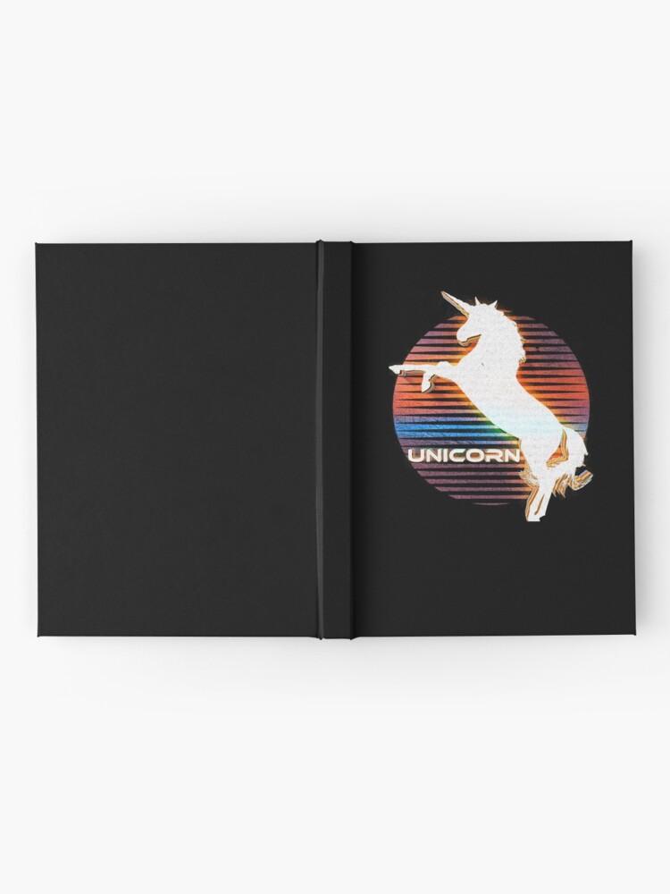Alternate view of Unicorn Black Grey White Retro Galaxy Unicorn Graphic Logo  Hardcover Journal