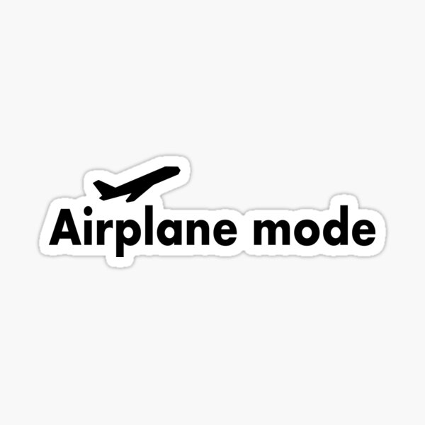 airplane icon and mode, Airplane Mode, Travel, Aviation mode, wifi mode, Http://workshop5.redbubble.com Sticker