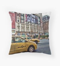 Macy's NYC and the yellow taxi Throw Pillow