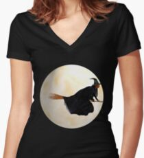 Whitch Flight on Halloween Night Women's Fitted V-Neck T-Shirt