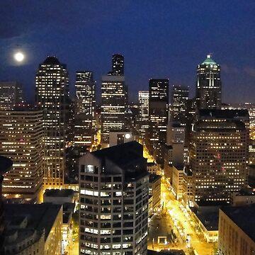 Moonlit Seattle Skyline  by bobmeyers