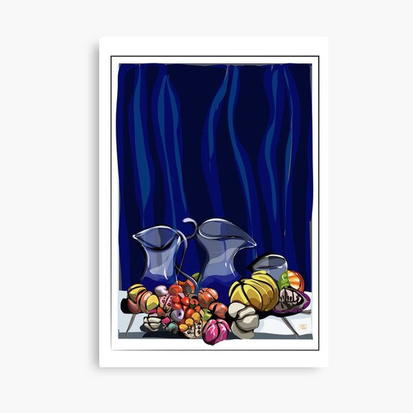 Blue glass between colorful fruit. Canvas Print