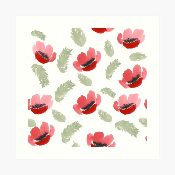 Red Poppy Watercolor painting pattern Art Print