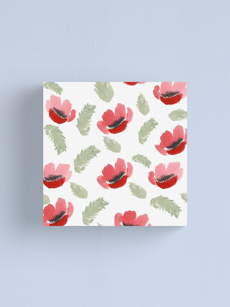 Alternate view of Red Poppy Watercolor painting pattern Canvas Print
