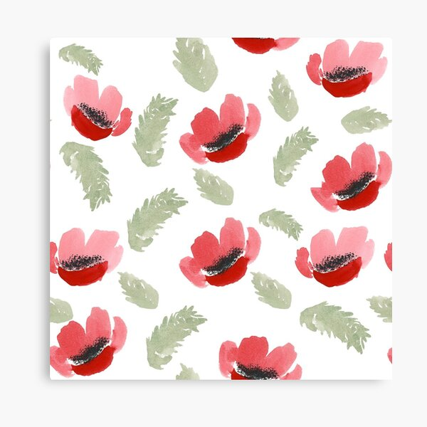 Red Poppy Watercolor painting pattern Canvas Print