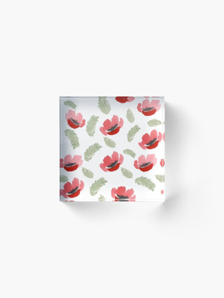 Alternate view of Red Poppy Watercolor painting pattern Acrylic Block