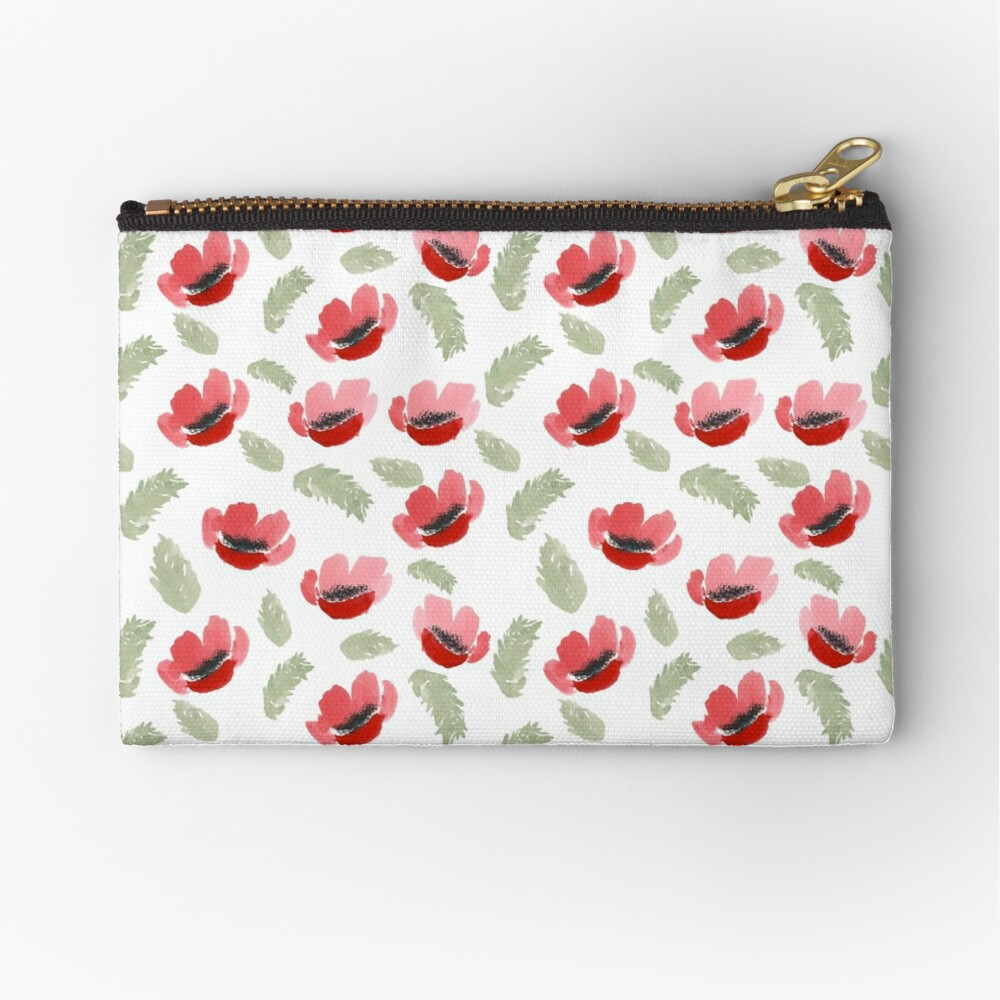 Red Poppy Watercolor painting pattern Zipper Pouch
