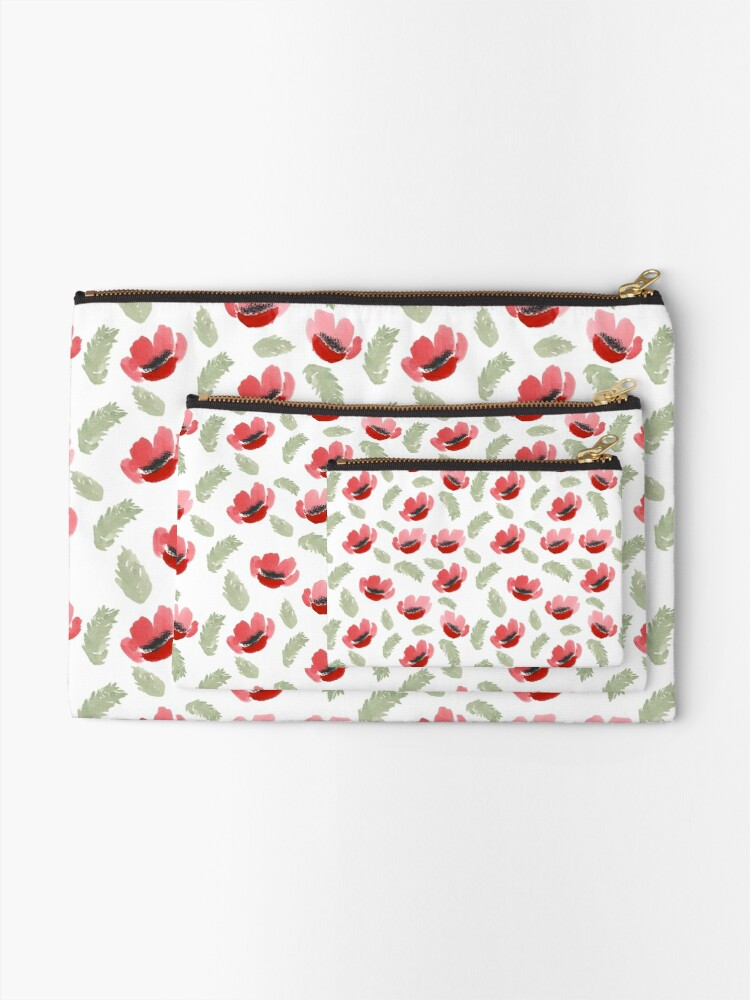 Alternate view of Red Poppy Watercolor painting pattern Zipper Pouch