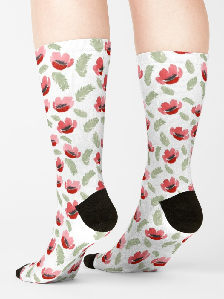 Alternate view of Red Poppy Watercolor painting pattern Socks