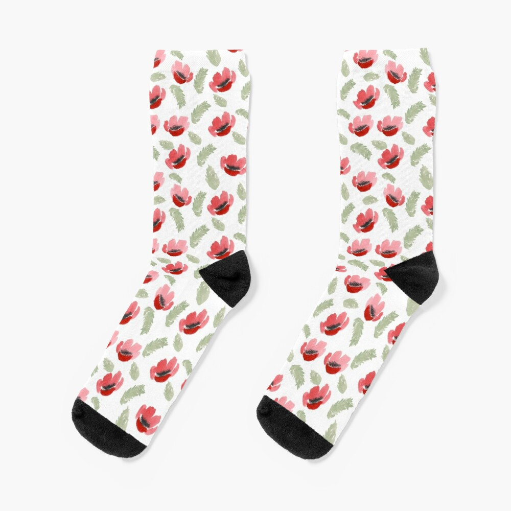 Red Poppy Watercolor painting pattern Socks