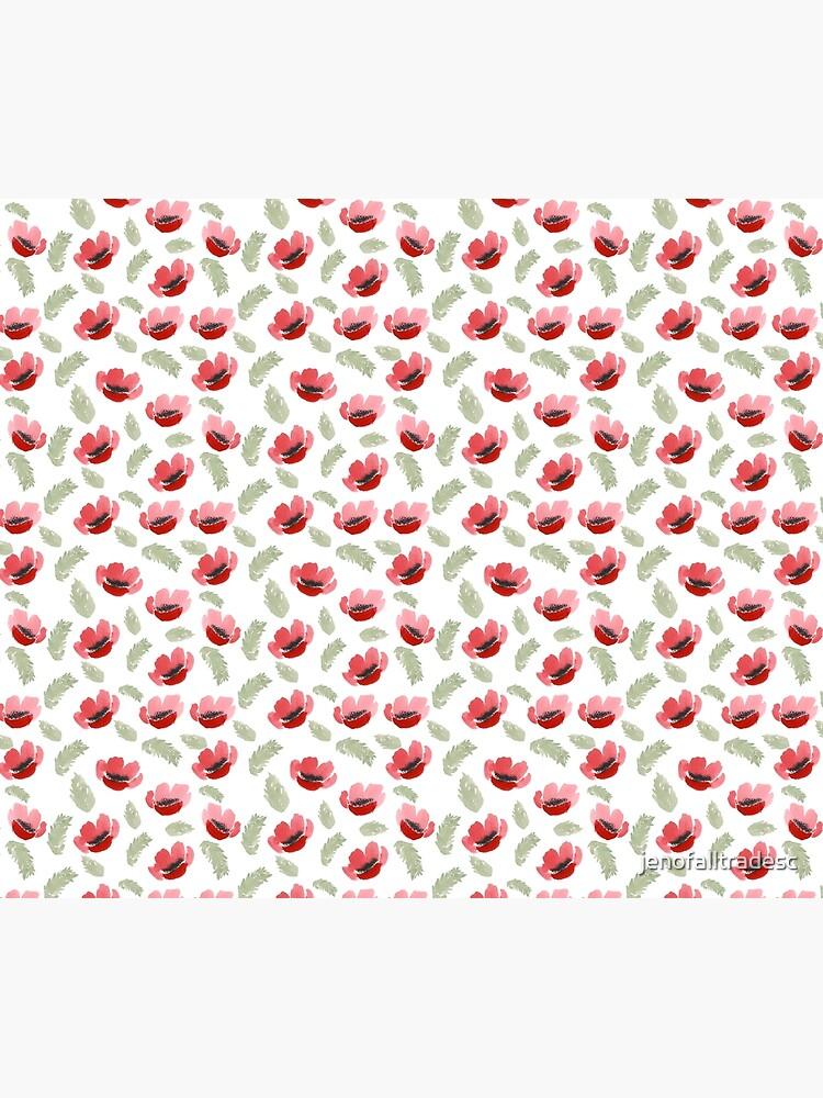 Red Poppy Watercolor painting pattern by jenofalltradesc