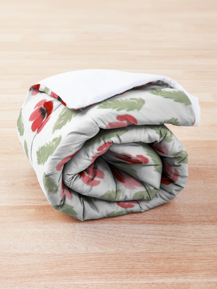 Alternate view of Red Poppy Watercolor painting pattern Comforter