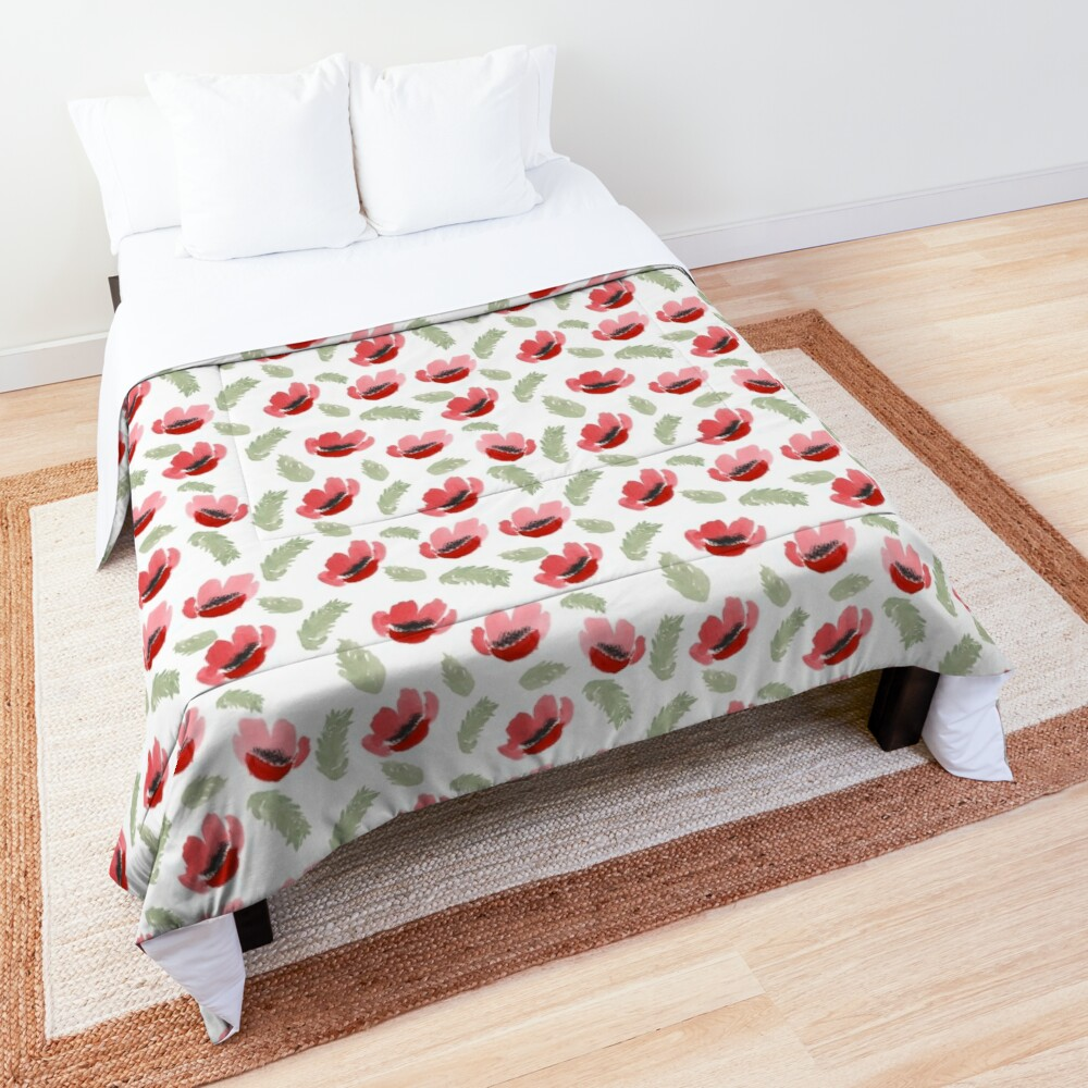 Red Poppy Watercolor painting pattern Comforter