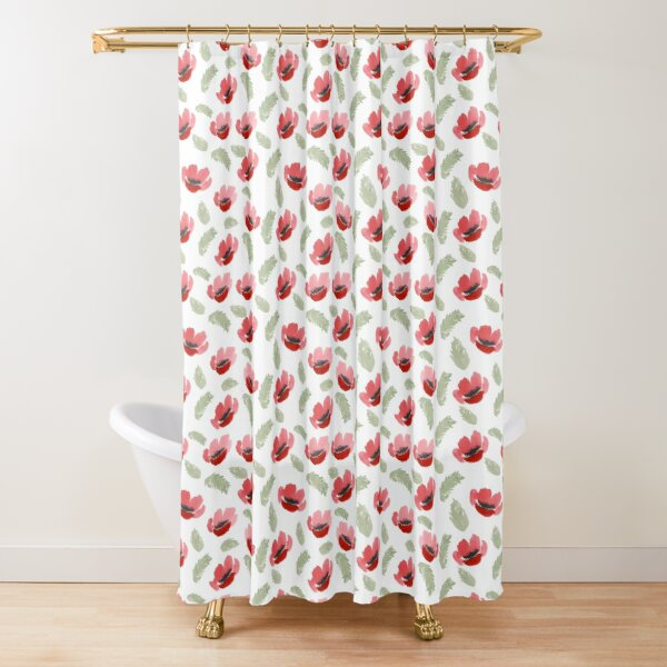 Red Poppy Watercolor painting pattern Shower Curtain