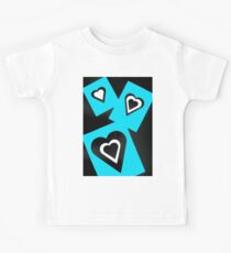 Hearts in Black Turquoise and White No Text Kids Tee