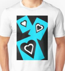 Hearts in Black Turquoise and White No Text Unisex T-Shirt