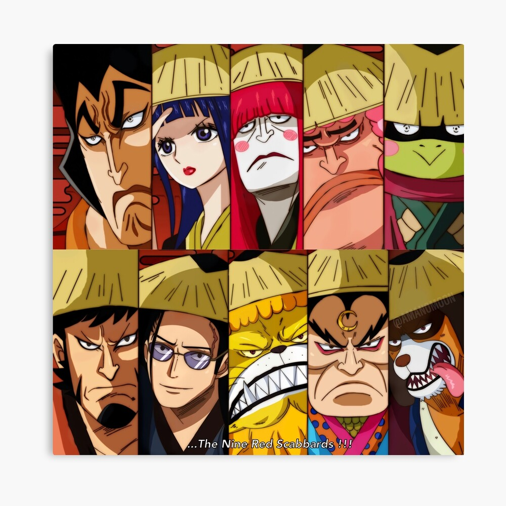 One Piece Wano Kuni Nine Red Scabbards Illustration Framed Art Print By Amanomoon Redbubble