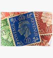 King George vintage stamps. Poster